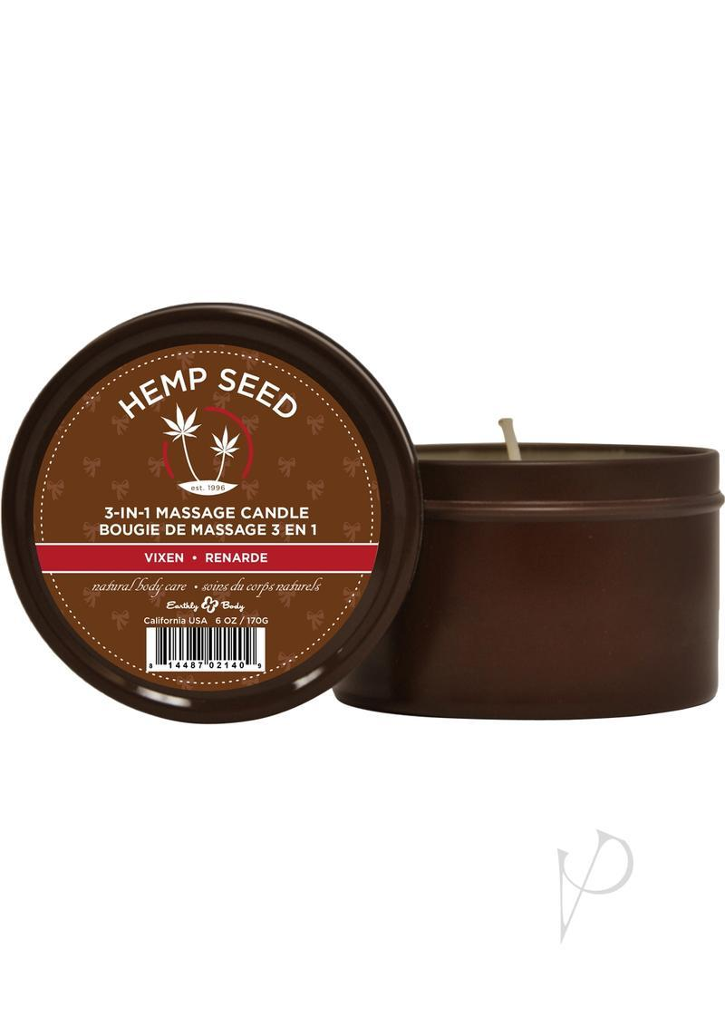 Hemp Seed 3 In 1 Massage Candle 100% Vegan Vixen 6 Ounce Round Tin
